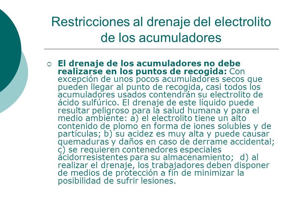 Restricciones al drenaje del electrolito de los acumuladores El drenaje de los acumuladores no debe realizarse en los puntos de recogida: Con excepción de unos pocos acumuladores secos que pueden llegar al punto de recogida, casi todos los acumuladores usados contendrán su electrolito de ácido sulfúrico.