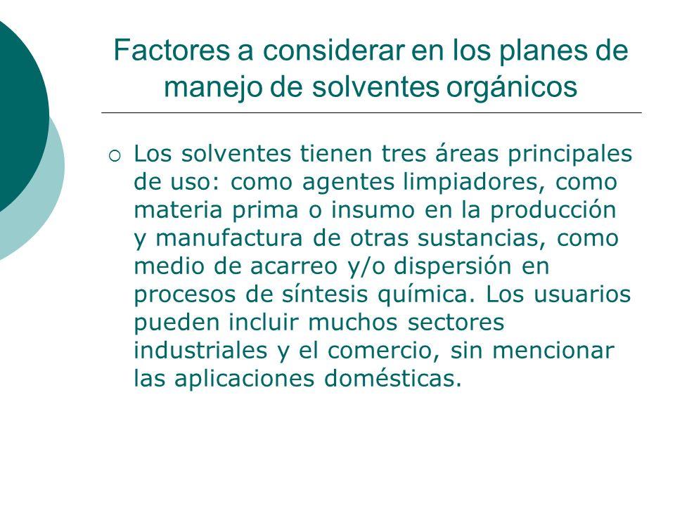 Factores a considerar en los planes de manejo de solventes orgánicos Los solventes tienen tres áreas principales de uso: como agentes limpiadores, como materia prima o insumo en la producción y manufactura de otras sustancias, como medio de acarreo y/o dispersión en procesos de síntesis química.