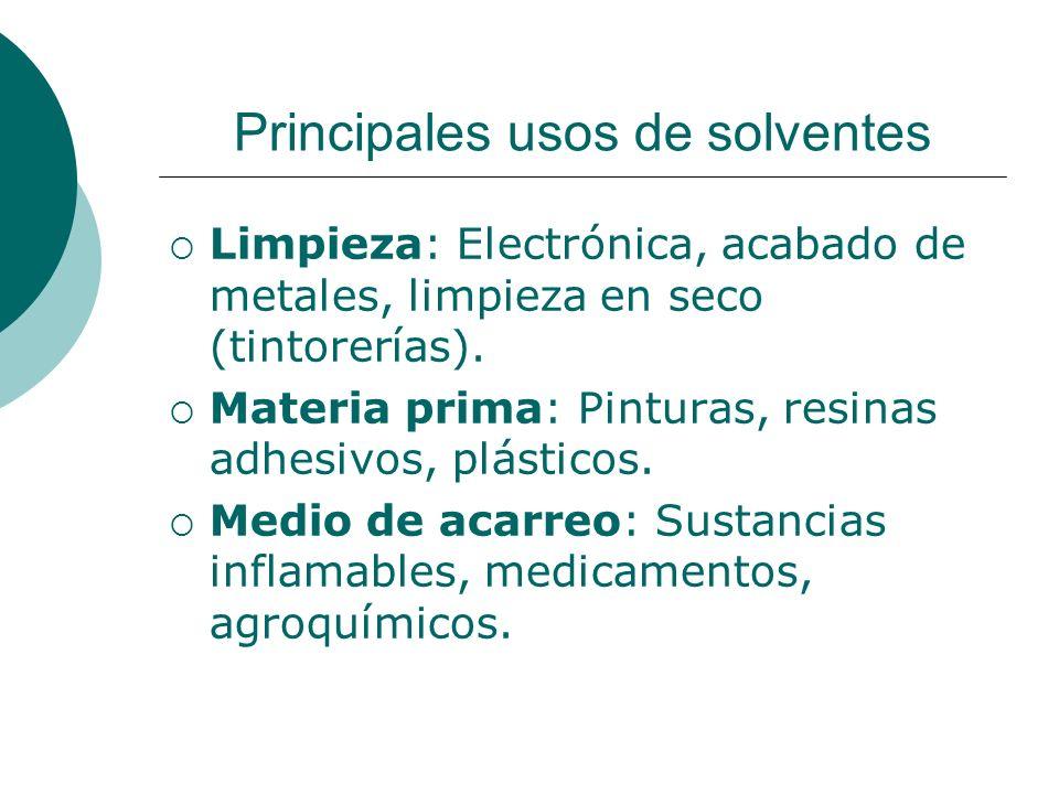Principales usos de solventes Limpieza: Electrónica, acabado de metales, limpieza en seco (tintorerías).