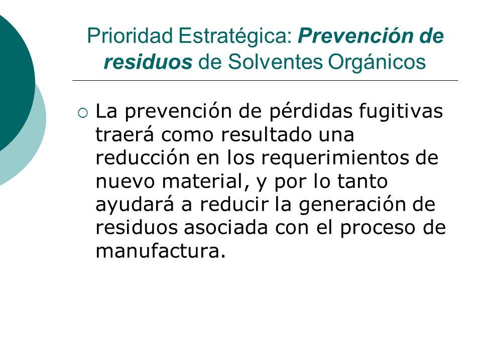 Prioridad Estratégica: Prevención de residuos de Solventes Orgánicos La prevención de pérdidas fugitivas traerá como resultado una reducción en los requerimientos de nuevo material, y por lo tanto ayudará a reducir la generación de residuos asociada con el proceso de manufactura.