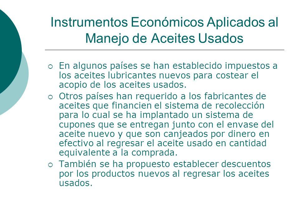 Instrumentos Económicos Aplicados al Manejo de Aceites Usados En algunos países se han establecido impuestos a los aceites lubricantes nuevos para costear el acopio de los aceites usados.
