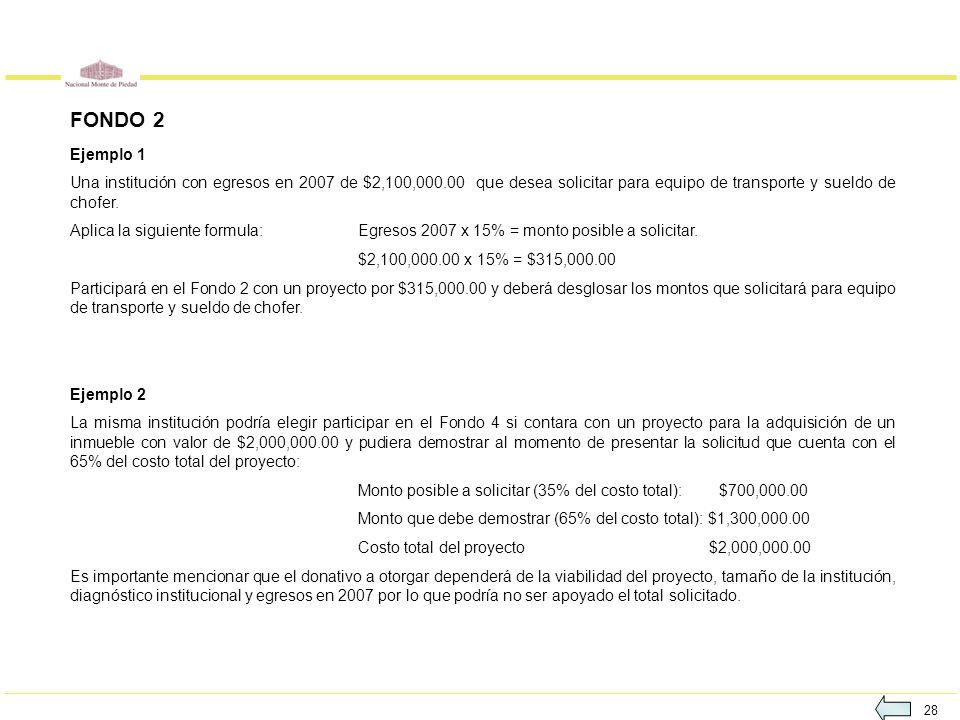 28 FONDO 2 Ejemplo 1 Una institución con egresos en 2007 de $2,100,000.00 que desea solicitar para equipo de transporte y sueldo de chofer. Aplica la