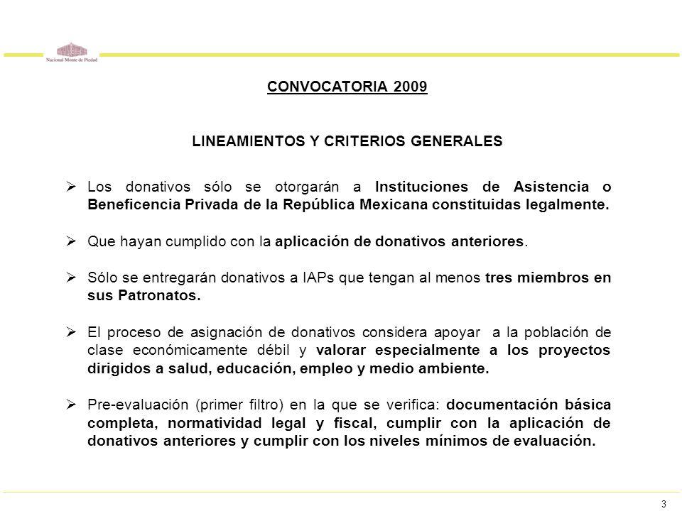 3 CONVOCATORIA 2009 LINEAMIENTOS Y CRITERIOS GENERALES Los donativos sólo se otorgarán a Instituciones de Asistencia o Beneficencia Privada de la Repú