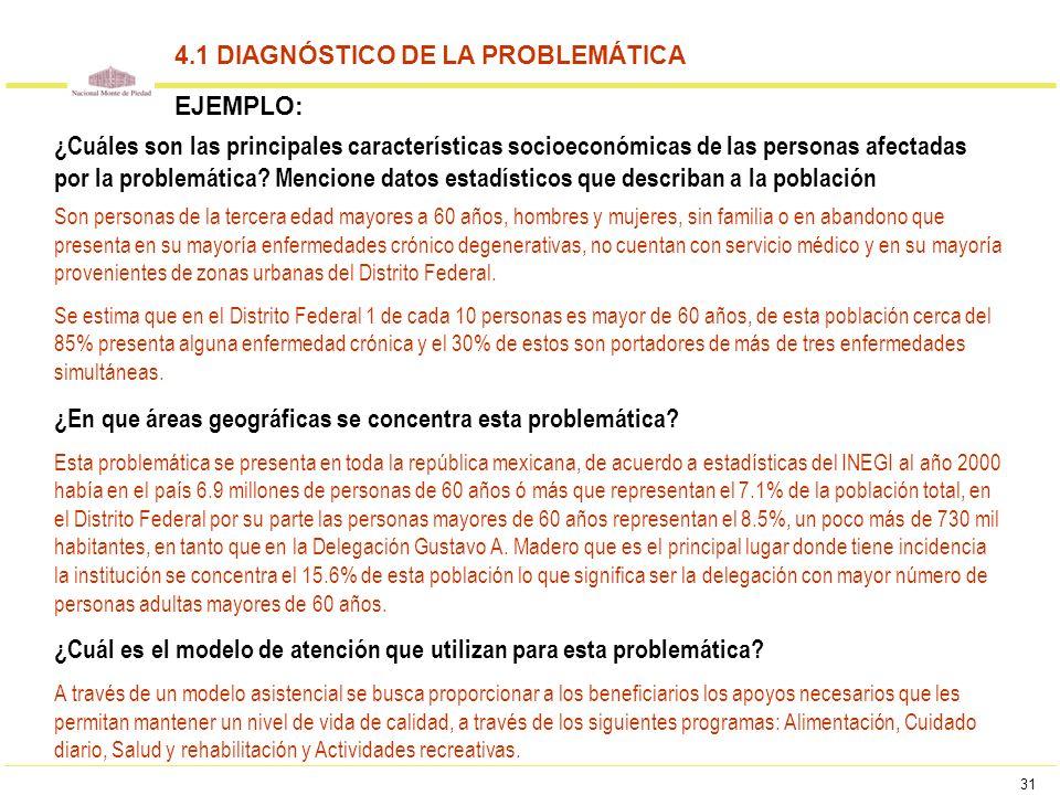 31 ¿Cuáles son las principales características socioeconómicas de las personas afectadas por la problemática? Mencione datos estadísticos que describa