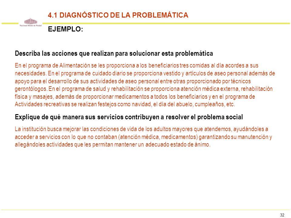32 4.1 DIAGNÓSTICO DE LA PROBLEMÁTICA EJEMPLO: Describa las acciones que realizan para solucionar esta problemática En el programa de Alimentación se