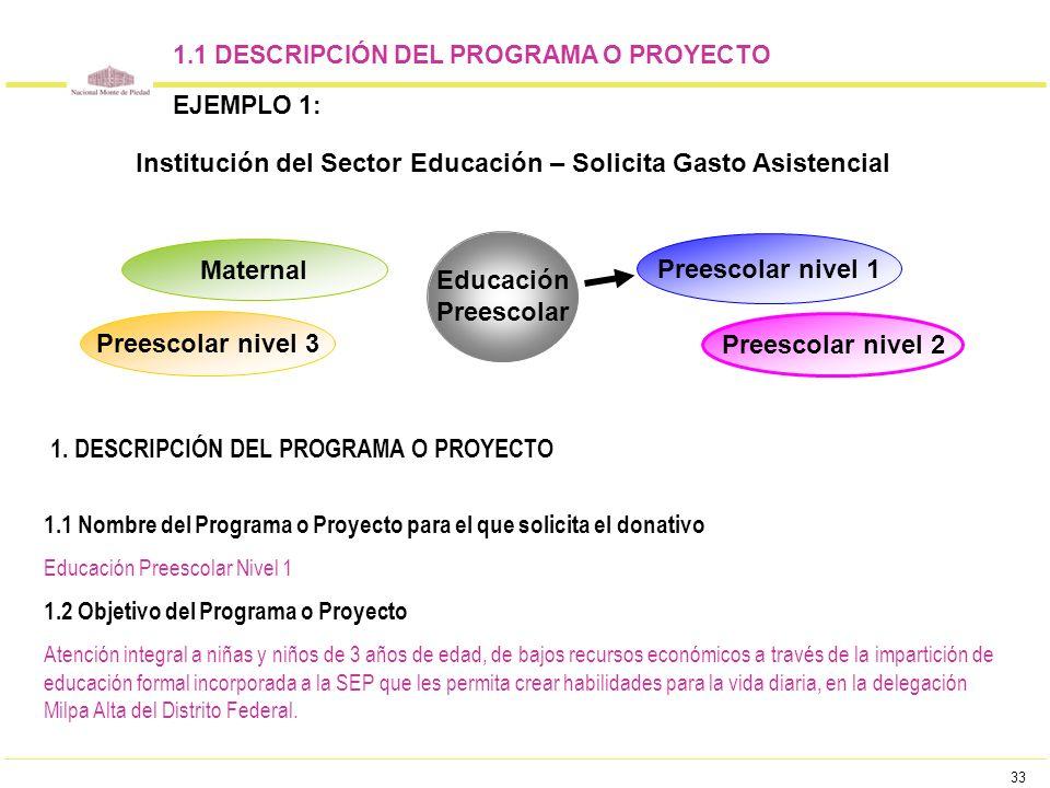 33 1.1 DESCRIPCIÓN DEL PROGRAMA O PROYECTO EJEMPLO 1: Educación Preescolar Maternal Preescolar nivel 3 Preescolar nivel 2 Preescolar nivel 1 1.1 Nombr