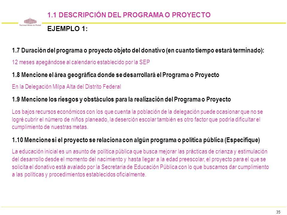 35 1.1 DESCRIPCIÓN DEL PROGRAMA O PROYECTO EJEMPLO 1: 1.7 Duración del programa o proyecto objeto del donativo (en cuanto tiempo estará terminado): 12