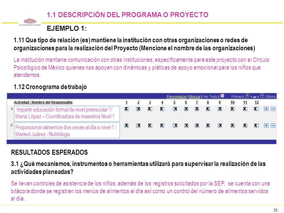 36 1.1 DESCRIPCIÓN DEL PROGRAMA O PROYECTO EJEMPLO 1: Impartir educación formal de nivel preescolar 1/ María López – Coordinadora de maestros Nivel 1