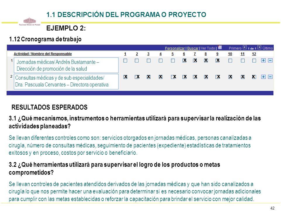 42 1.1 DESCRIPCIÓN DEL PROGRAMA O PROYECTO EJEMPLO 2: Jornadas médicas/ Andrés Bustamante – Dirección de promoción de la salud Consultas médicas y de