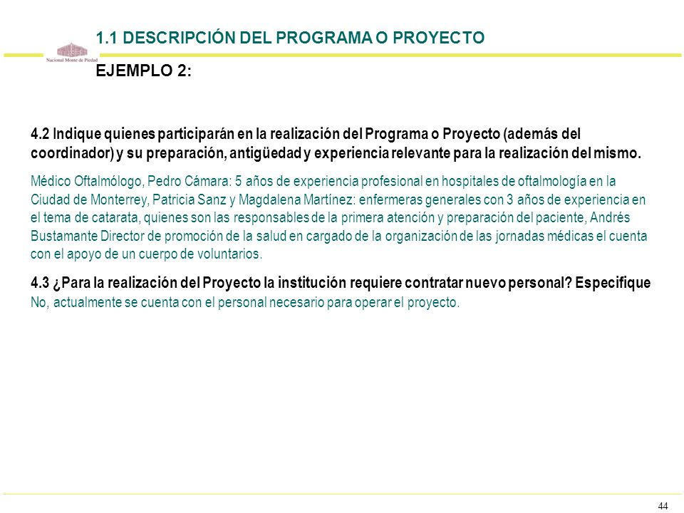 44 4.2 Indique quienes participarán en la realización del Programa o Proyecto (además del coordinador) y su preparación, antigüedad y experiencia rele