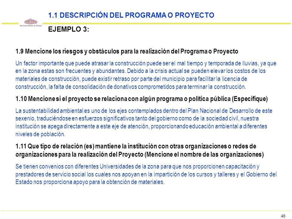 48 1.9 Mencione los riesgos y obstáculos para la realización del Programa o Proyecto Un factor importante que puede atrasar la construcción puede ser