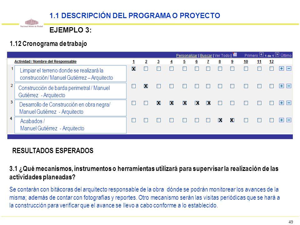 49 1.12 Cronograma de trabajo 1.1 DESCRIPCIÓN DEL PROGRAMA O PROYECTO EJEMPLO 3: Limpiar el terreno donde se realizará la construcción/ Manuel Gutiérr