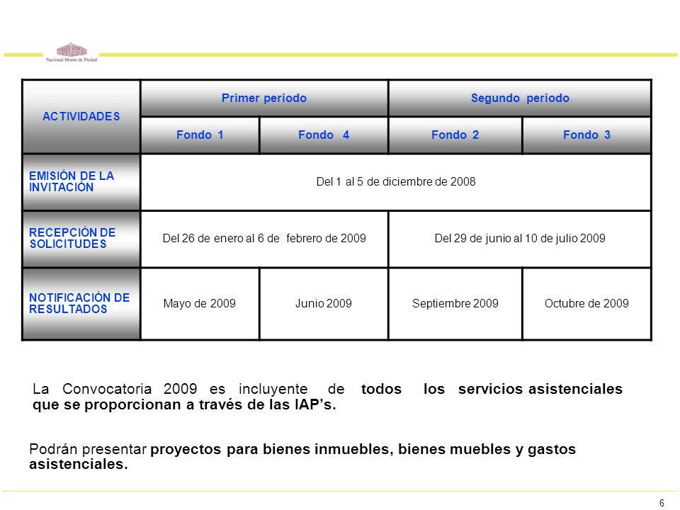 6 La Convocatoria 2009 es incluyente de todos los servicios asistenciales que se proporcionan a través de las IAPs. Podrán presentar proyectos para bi
