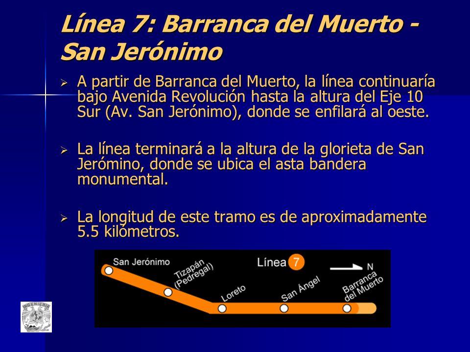 Línea 7: Barranca del Muerto - San Jerónimo A partir de Barranca del Muerto, la línea continuaría bajo Avenida Revolución hasta la altura del Eje 10 S