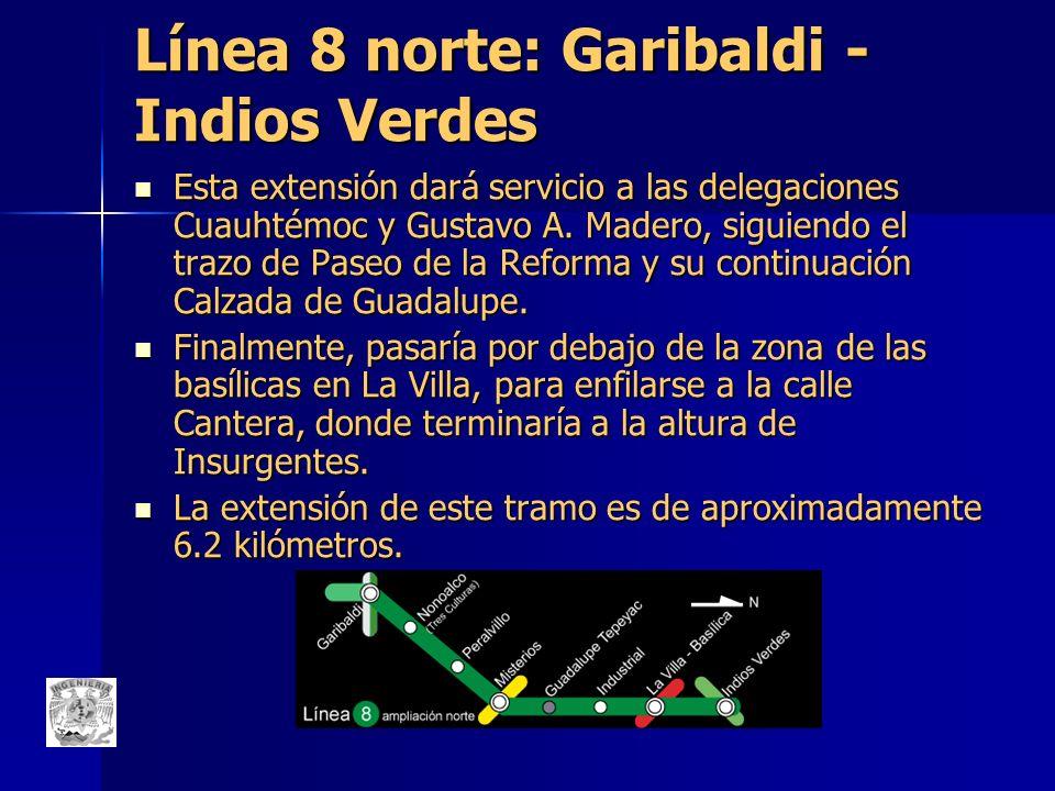 Línea 8 norte: Garibaldi - Indios Verdes Esta extensión dará servicio a las delegaciones Cuauhtémoc y Gustavo A. Madero, siguiendo el trazo de Paseo d