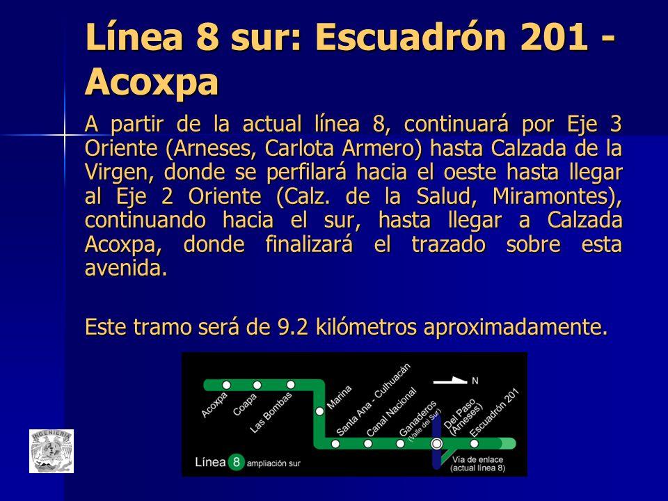 Línea 8 sur: Escuadrón 201 - Acoxpa A partir de la actual línea 8, continuará por Eje 3 Oriente (Arneses, Carlota Armero) hasta Calzada de la Virgen,