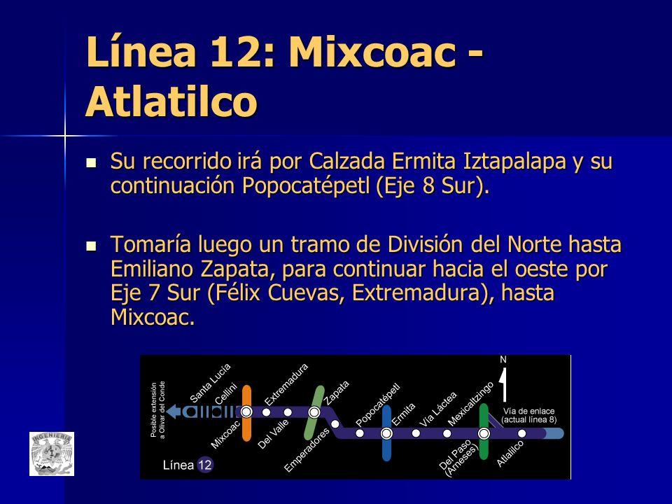 Línea 12: Mixcoac - Atlatilco Su recorrido irá por Calzada Ermita Iztapalapa y su continuación Popocatépetl (Eje 8 Sur). Su recorrido irá por Calzada