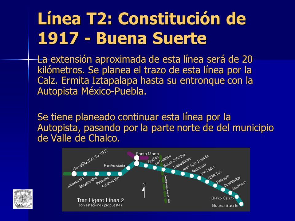 Línea T2: Constitución de 1917 - Buena Suerte La extensión aproximada de esta línea será de 20 kilómetros. Se planea el trazo de esta línea por la Cal