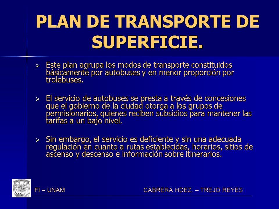 PLAN DE TRANSPORTE DE SUPERFICIE. Este plan agrupa los modos de transporte constituidos básicamente por autobuses y en menor proporción por trolebuses