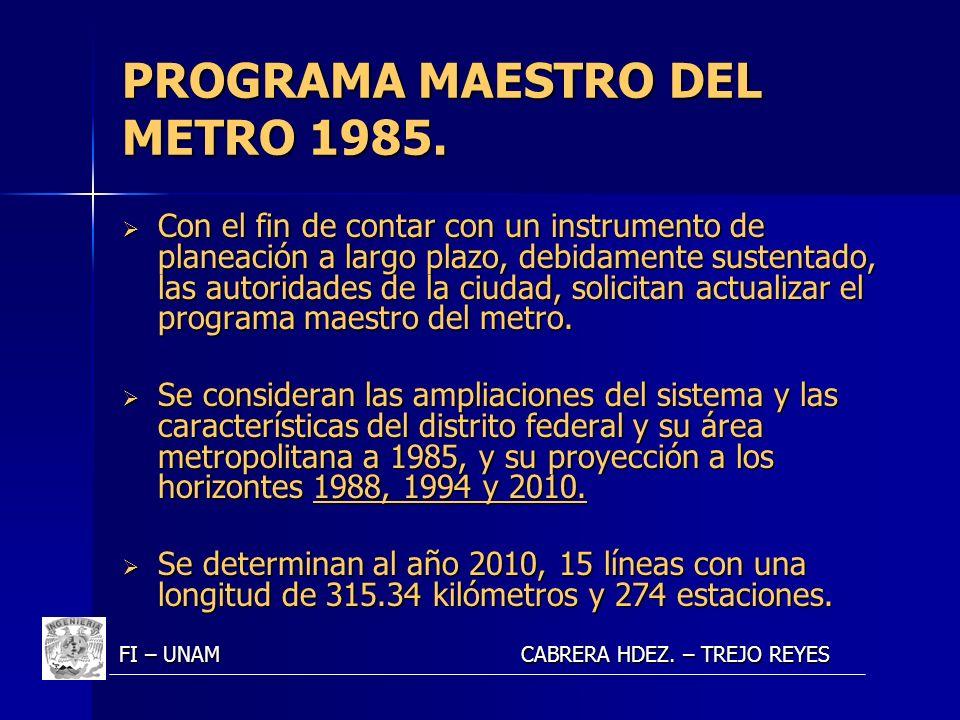 PROGRAMA MAESTRO DEL METRO 1985. Con el fin de contar con un instrumento de planeación a largo plazo, debidamente sustentado, las autoridades de la ci