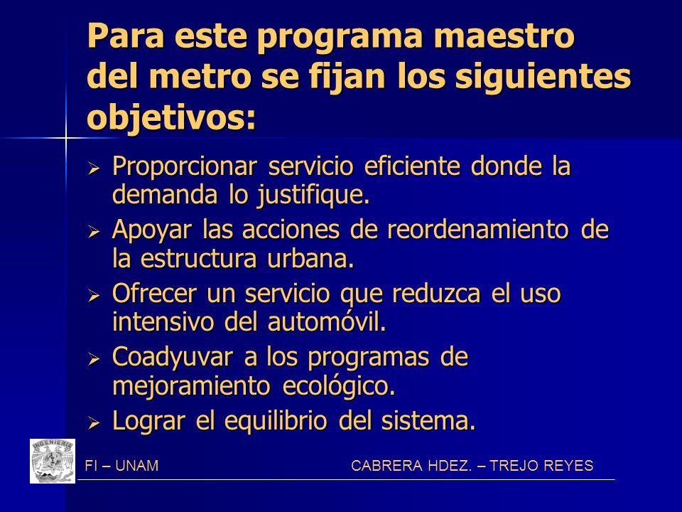 Para este programa maestro del metro se fijan los siguientes objetivos: Proporcionar servicio eficiente donde la demanda lo justifique. Proporcionar s