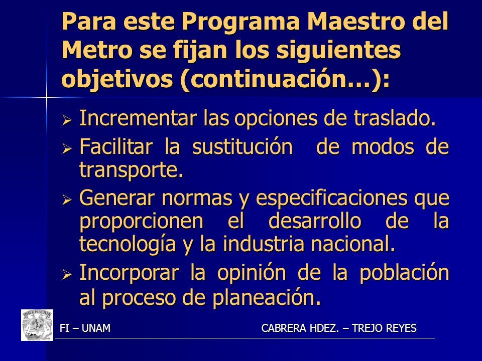 Para este Programa Maestro del Metro se fijan los siguientes objetivos (continuación…): Incrementar las opciones de traslado. Incrementar las opciones