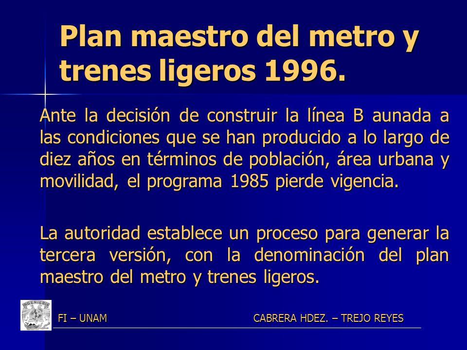 Plan maestro del metro y trenes ligeros 1996. Ante la decisión de construir la línea B aunada a las condiciones que se han producido a lo largo de die
