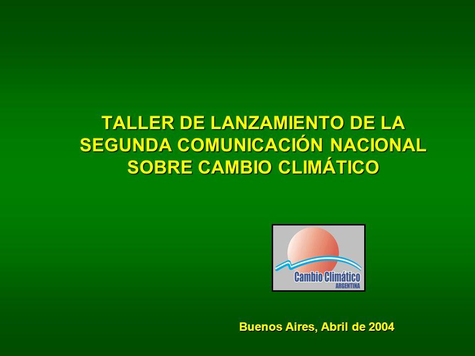 TALLER DE LANZAMIENTO DE LA SEGUNDA COMUNICACIÓN NACIONAL SOBRE CAMBIO CLIMÁTICO Buenos Aires, Abril de 2004
