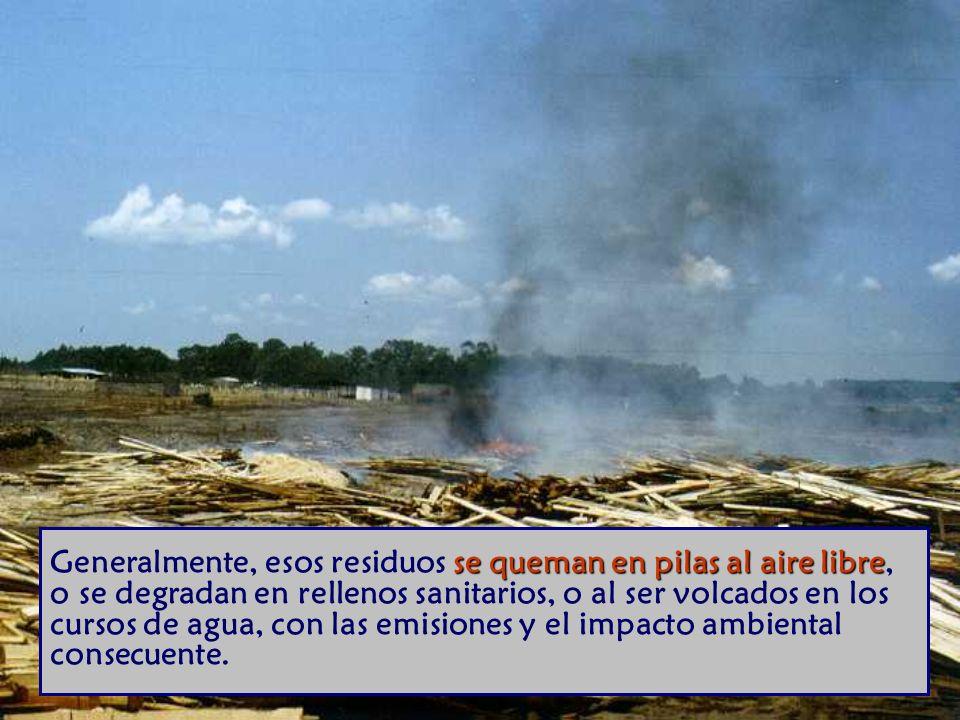 se queman en pilas al aire libre Generalmente, esos residuos se queman en pilas al aire libre, o se degradan en rellenos sanitarios, o al ser volcados en los cursos de agua, con las emisiones y el impacto ambiental consecuente.
