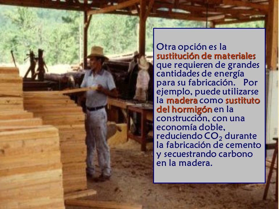 sustitución de materiales madera sustituto del hormigón Otra opción es la sustitución de materiales que requieren de grandes cantidades de energía para su fabricación.