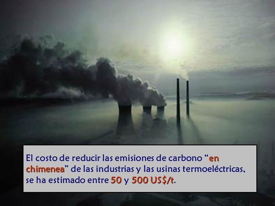 en chimenea 50 500 US$/t El costo de reducir las emisiones de carbono en chimenea de las industrias y las usinas termoeléctricas, se ha estimado entre 50 y 500 US$/t.