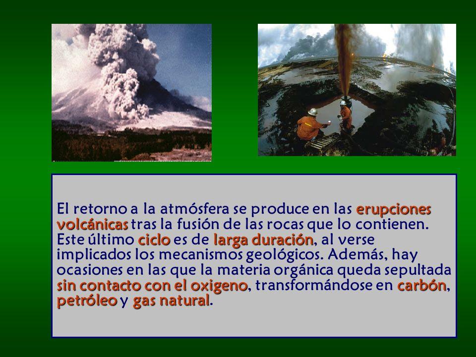 erupciones volcánicas ciclo larga duración sin contacto con el oxigenocarbón petróleo gas natural El retorno a la atmósfera se produce en las erupciones volcánicas tras la fusión de las rocas que lo contienen.