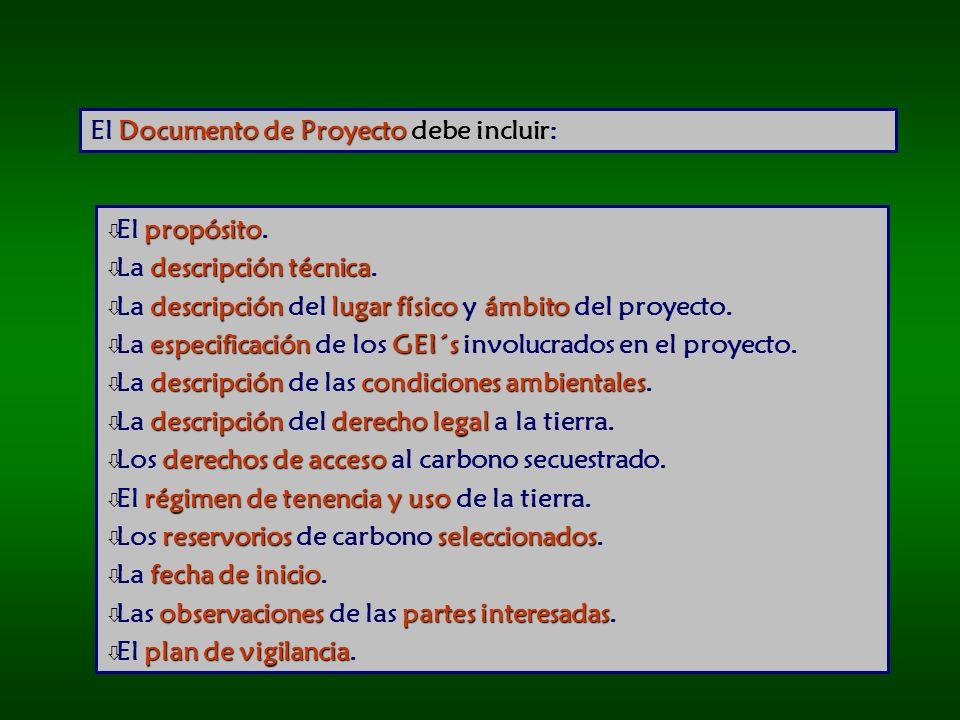 Documento de Proyecto El Documento de Proyecto debe incluir: propósito ò El propósito.