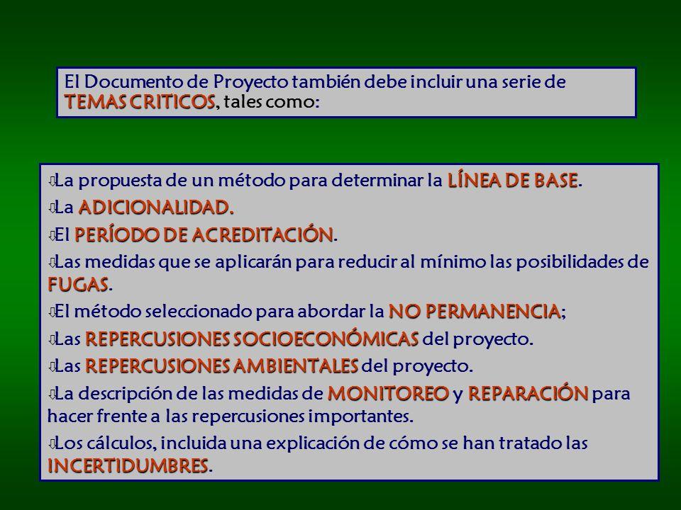 TEMAS CRITICOS El Documento de Proyecto también debe incluir una serie de TEMAS CRITICOS, tales como: LÍNEA DE BASE ò La propuesta de un método para determinar la LÍNEA DE BASE.