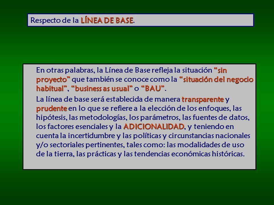 LÍNEA DE BASE Respecto de la LÍNEA DE BASE.