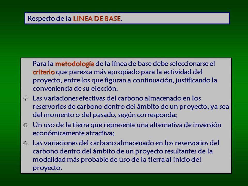 LINEA DE BASE Respecto de la LINEA DE BASE.