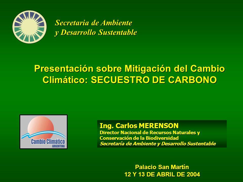 Presentación sobre Mitigación del Cambio Climático: SECUESTRO DE CARBONO Secretaria de Ambiente y Desarrollo Sustentable Palacio San Martín 12 Y 13 DE ABRIL DE 2004 Ing.
