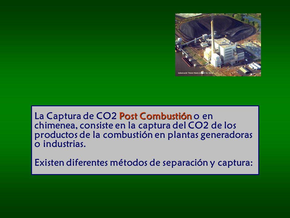 Post Combustión La Captura de CO2 Post Combustión o en chimenea, consiste en la captura del CO2 de los productos de la combustión en plantas generadoras o industrias.