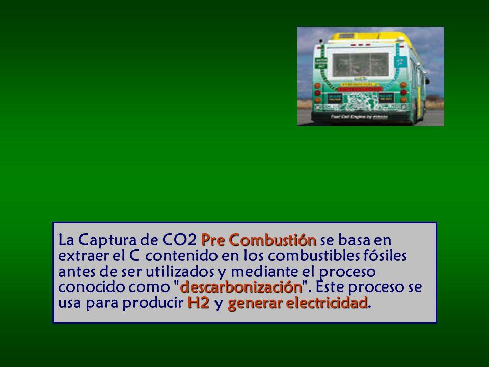 Pre Combustión descarbonización H2generar electricidad La Captura de CO2 Pre Combustión se basa en extraer el C contenido en los combustibles fósiles antes de ser utilizados y mediante el proceso conocido como descarbonización .