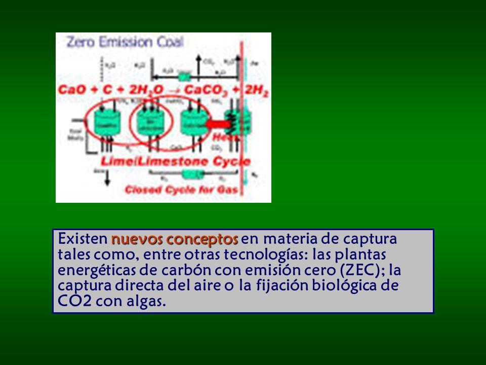 nuevos conceptos Existen nuevos conceptos en materia de captura tales como, entre otras tecnologías: las plantas energéticas de carbón con emisión cero (ZEC); la captura directa del aire o la fijación biológica de CO2 con algas.