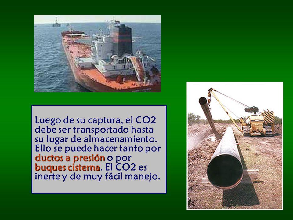 ductos a presión buques cisterna Luego de su captura, el CO2 debe ser transportado hasta su lugar de almacenamiento.