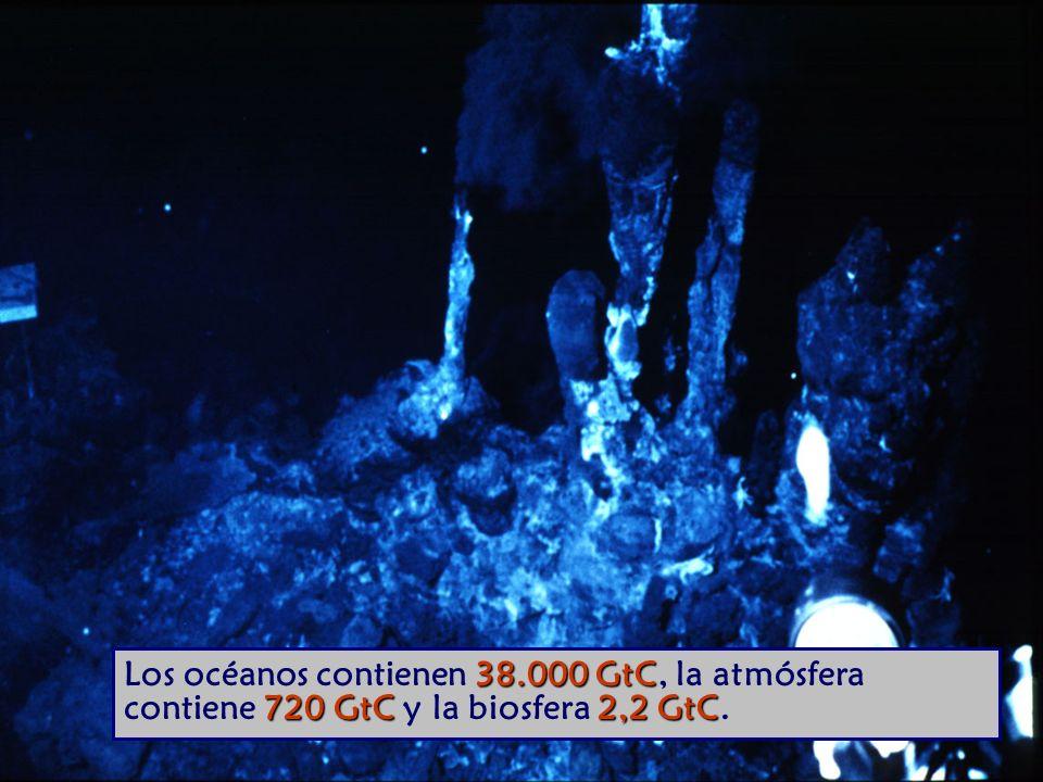 38.000 GtC 720 GtC 2,2 GtC Los océanos contienen 38.000 GtC, la atmósfera contiene 720 GtC y la biosfera 2,2 GtC.