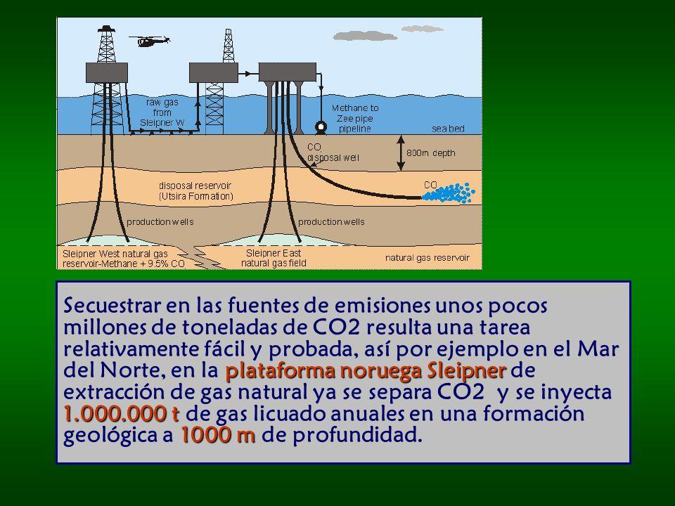 plataforma noruega Sleipner 1.000.000 t 1000 m Secuestrar en las fuentes de emisiones unos pocos millones de toneladas de CO2 resulta una tarea relativamente fácil y probada, así por ejemplo en el Mar del Norte, en la plataforma noruega Sleipner de extracción de gas natural ya se separa CO2 y se inyecta 1.000.000 t de gas licuado anuales en una formación geológica a 1000 m de profundidad.