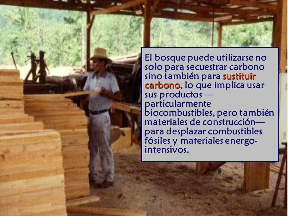 sustituir carbono El bosque puede utilizarse no solo para secuestrar carbono sino también para sustituir carbono, lo que implica usar sus productos particularmente biocombustibles, pero también materiales de construcción para desplazar combustibles fósiles y materiales energo- intensivos.