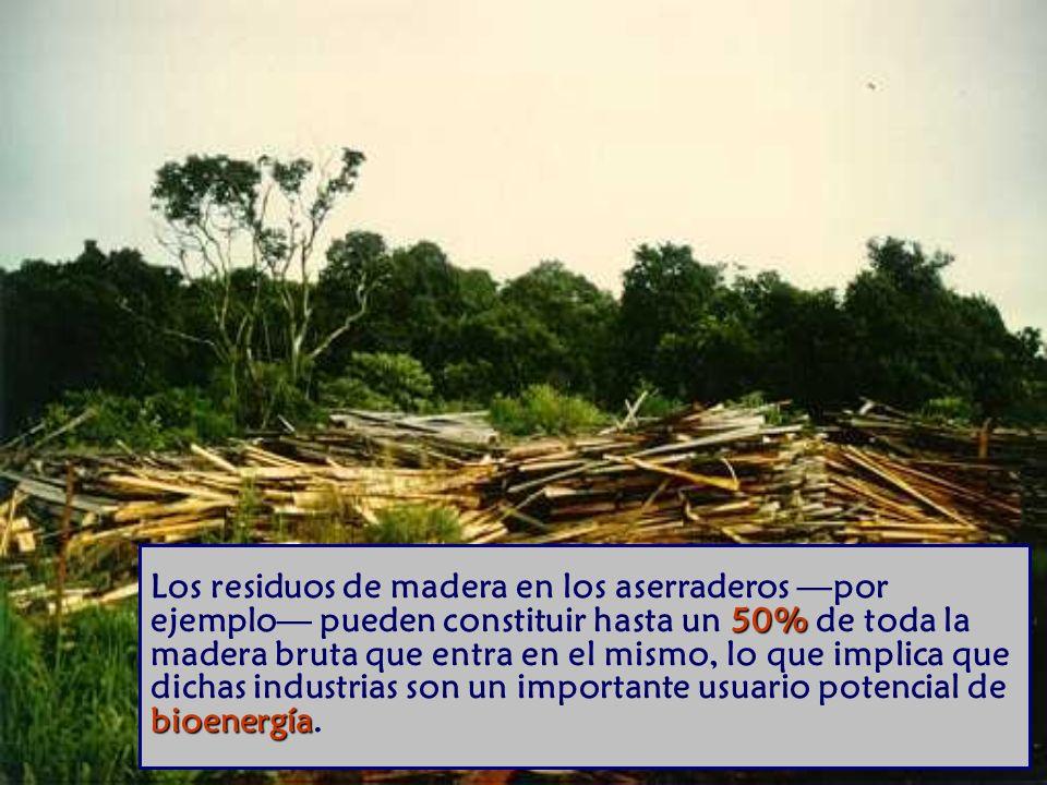 50% bioenergía Los residuos de madera en los aserraderos por ejemplo pueden constituir hasta un 50% de toda la madera bruta que entra en el mismo, lo que implica que dichas industrias son un importante usuario potencial de bioenergía.