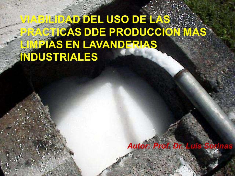 VIABILIDAD DEL USO DE LAS PRACTICAS DDE PRODUCCION MAS LIMPIAS EN LAVANDERIAS INDUSTRIALES Autor: Prof. Dr. Luis Sorinas
