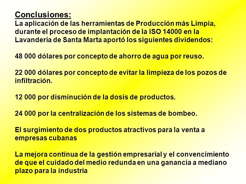 Conclusiones: La aplicación de las herramientas de Producción más Limpia, durante el proceso de implantación de la ISO 14000 en la Lavandería de Santa