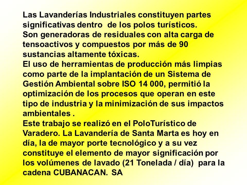 Las Lavanderías Industriales constituyen partes significativas dentro de los polos turísticos. Son generadoras de residuales con alta carga de tensoac