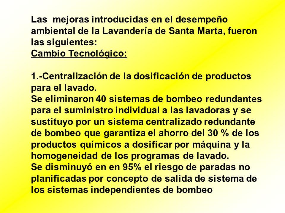 Las mejoras introducidas en el desempeño ambiental de la Lavandería de Santa Marta, fueron las siguientes: Cambio Tecnológico: 1.-Centralización de la