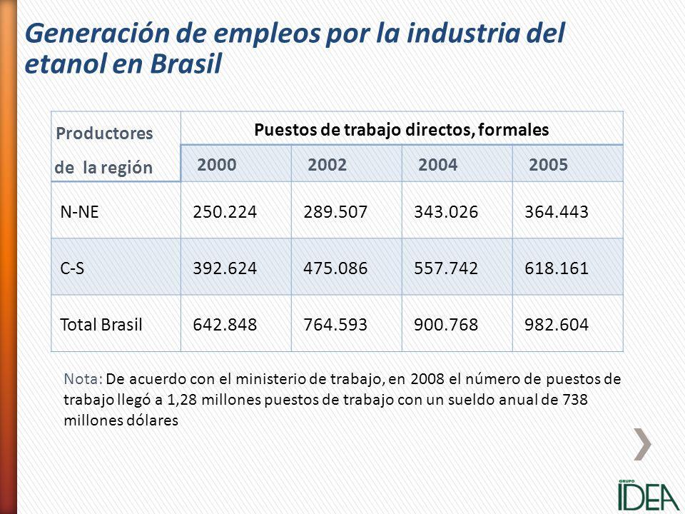 Productores de la región Puestos de trabajo directos, formales 2000200220042005 N-NE250.224289.507343.026364.443 C-S392.624475.086557.742618.161 Total
